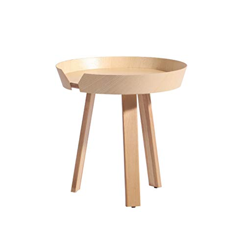 TangMengYun Table basse nordique de salon en bois, côté rond créateur de table de chevet de chambre à coucher simple (Color : Wood, Taille : 45 * 46cm)