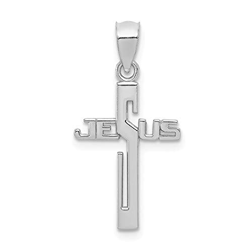 14k White Gold Jesus Cross Religious Pendant Charm Necklace Fancy Fine Jewelry For Women Gifts For Her