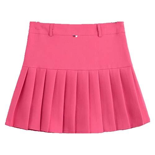 N\P Merry Pretty Falda plisada para mujer de cintura alta corta mini faldas color caramelo línea A skater falda mujer