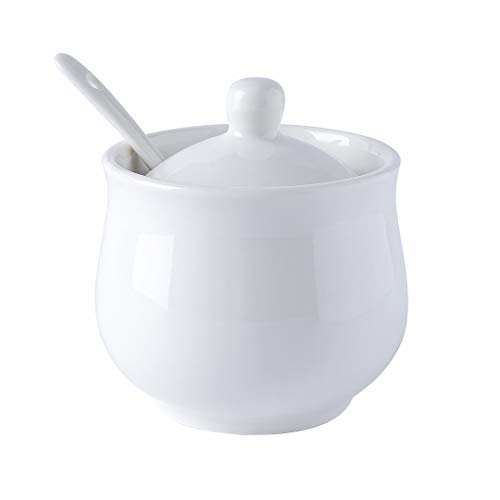 Yelife Ceramic Sugar Bowl with Lid and Spoon, White Porcelain Sugar Salt Pepper Storage Jar, 7 Ounces