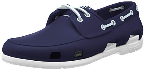 Crocs Beach Line Boat Shoe, Chaussures Bateau Homme, Bleu (Navy/White) 45/46 EU