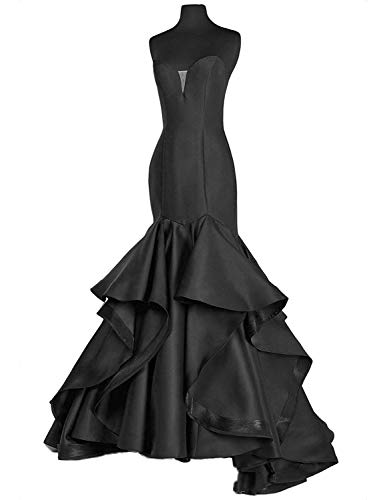 Prom Dress Long Evening Gown Mermaid Trumpet Prom Gowns Strapless Sweetheart Evening Dress Black