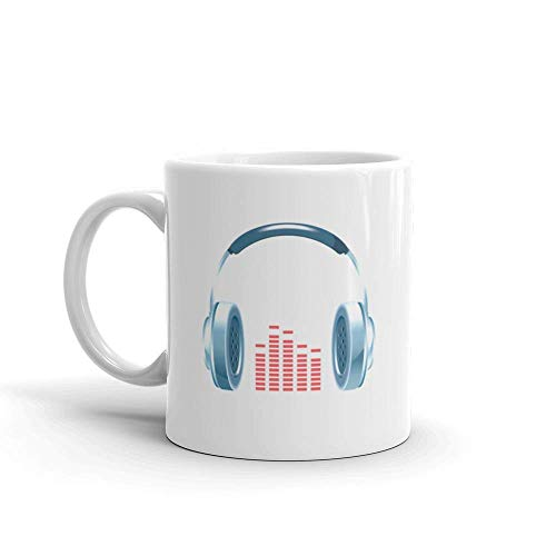 Dozili Grappige Koffiemok - Glanzende Koptelefoon Drum en Bass Keramische Koffiemok Beker, 11 Oz, Wit