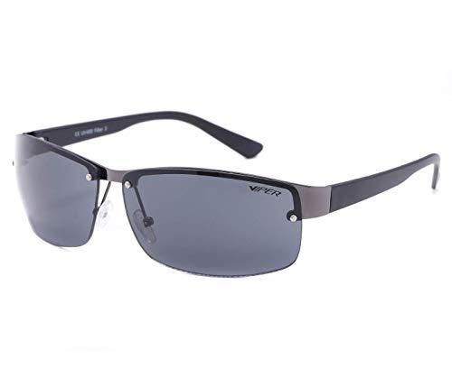Alsino Sonnenbrille Randlose Leichte Brille mit UV 400 Schutz Viper Eyewear Collection in verschiedenen Modellen Herren Damen Unisex (schwarz/schwarz)