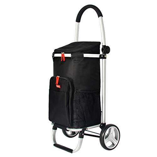xinliche Einkaufswagen faltbarer tragbarer Aluminiumlegierungslaufkatzen-Autoanhänger kleiner Wagenreise-wasserdichter Koffer, schwarz