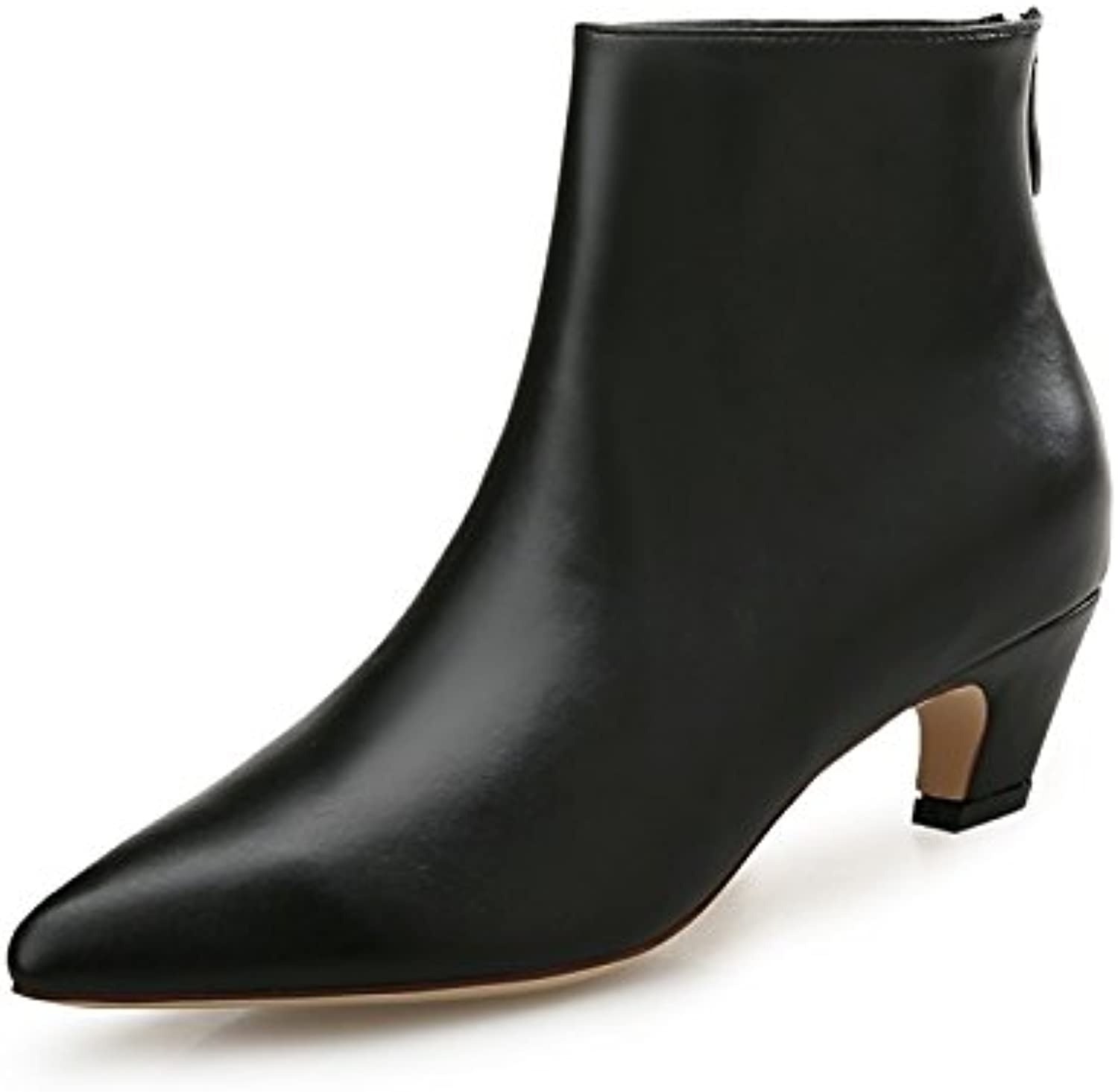 HSXZ Women's shoes Synthetic Microfiber PU Winter Fall Fashion Boots Boots Low Heel Pointed Toe for Dress Black