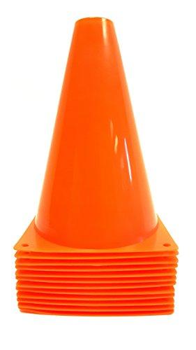 Dondor Enterprises Sports Training Cones, 7' Inch, 1 Dozen Multipurpose Orange Sports Cones