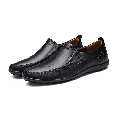 Mens Genuine Leather Driving Shoes Travel Light All-Match Slip-ons Popular Gentleman Cozy Flats Loafers for Autumn Black