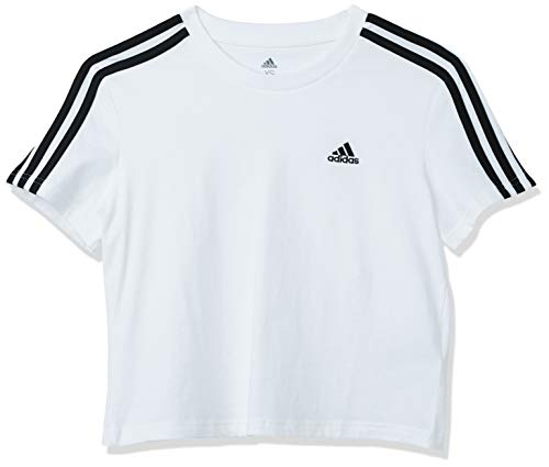 adidas Women's Standard Essentials Loose 3-Stripes Cropped Tee, White/Black, Large