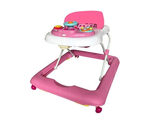 Andador para bebé modelo volante rosa. Andador de actividades o tacatá