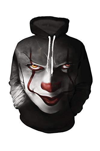 Sevozimda Le Donne 3D Felpa Cappuccio Drawtring Clown Buffo Felpe in più Dimensioni Black XL