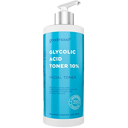 GoodMood Glycolic Acid Toner for Face 10% AHA, Facial Toner, Professional Face Toner for Women for Anti-Aging and Acne Toner, Infused with Castor Oil and Flower Extracts, 8oz