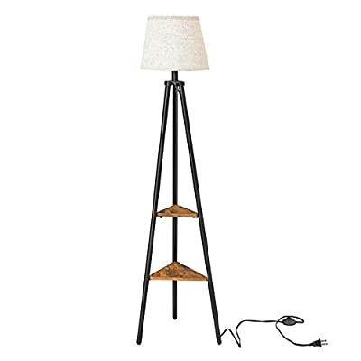 VASAGLE Floor Lamp with Shelves, Standing Reading Lamp with LED Bulb and Lamp Shade, for Living Room, Bedroom, Metal Legs, Rustic Brown ULFL15BX