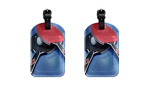 Table Tennis PU Leather Luggage Tags Children's Bag Tag Travel ID Labels Tag for Suitcase Baggage Labels for Aviation, Railway, Ship Travel 2 Pieces