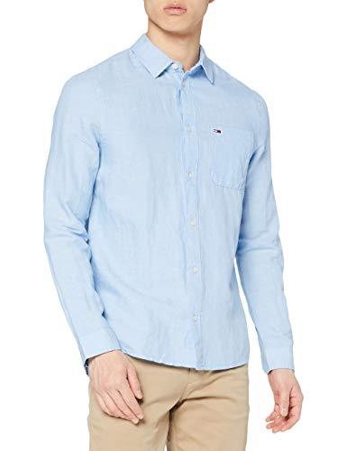 Tommy Jeans TJM Linen Blend Shirt Camisa, Azul Claro, S para Hombre