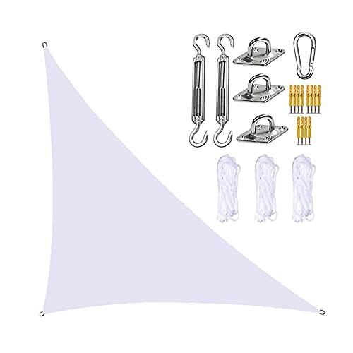 GNCCI Toldo Vela de Sombra Triangular 3 x 4X 5m,Protección UV Vela Solar en Poliéster con Kit de fijación Resistente, 3 Cuerdas, Patio Shack Toldo Vela Impermeable (Color : White)