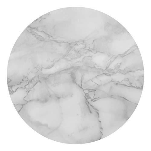 Runde Tapete selbstklebend - Marmoroptik Schwarz Weiß 122x122cm