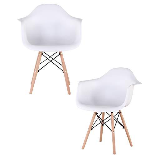 2/4er Set Esszimmerstühle Armlehne Retro Stuhl Holzbeinen Stuhl im nordischen Stil (Weiß-2er)