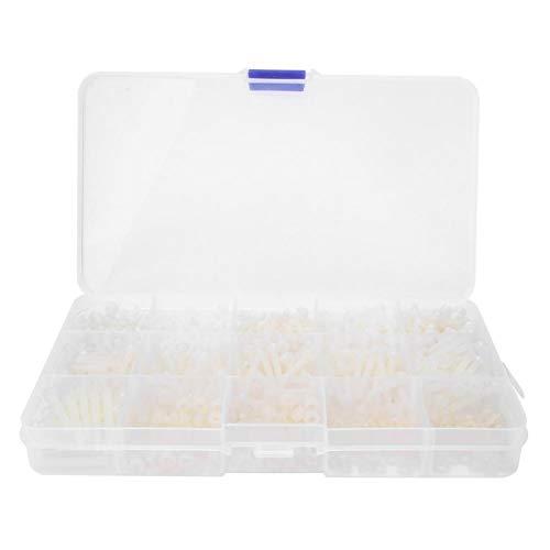 Jopwkuin Kit de Tornillos de Nailon de 600 Piezas con Caja de plástico para Suministros industriales de construcción de Drones cuadricópteros(600pcs White Screw Nut/Box)