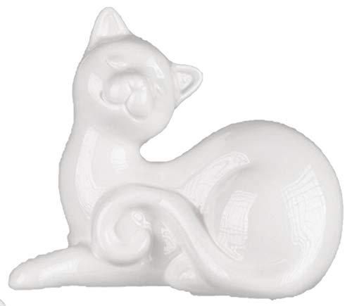 dekojohnson Dekofigur Katze Dekokatze Katzenskulptur Moderne Katzenfigur Liegend Weiß 12 cm Inkle Geschenkkarte