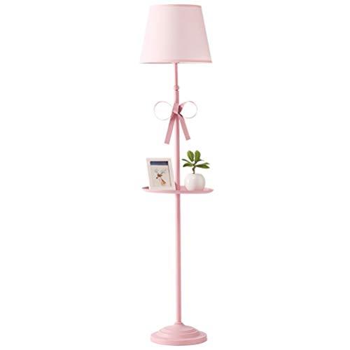MYALQ Dekoration Standleuchte Modern Einfache Pink mit Bow Dekoration Stehlampe mit Ablage Standlampe für Schlafzimmer, Wohnzimmer, Babyzimmer, Büro