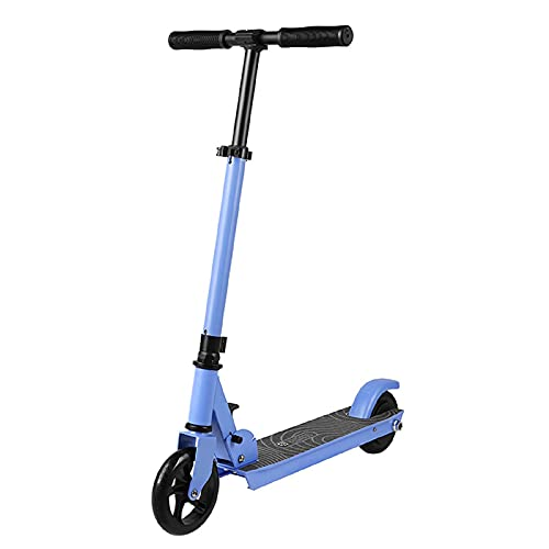 Kids Electric Scooter Easy Foldable E scooter For Children BLUE Adjustable Handles 120W Up to 6KMh 5 Wheels Up to 60Kg Weightload