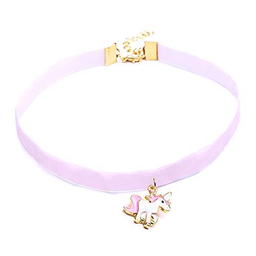 Leisial Collar de Corto Forma de Unicornio Collar de Clavícula Gargantilla Collares Decorativos Accesorios de Fiesta para Mujeres Niñas