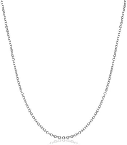 14k SOLID Yellow or White or Rose/Pink Gold 1.1mm Shiny Diamond Cut Cable Link Chain Necklace for Pendants and Charms with Spring-Ring Clasp (13