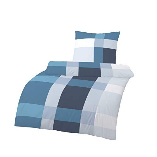 Träumschön Biber-Bettwäsche 135x200 Baumwolle | Winterbettwäsche 135x200 cm Baumwolle | Bettwäsche Blau Weiß | Kuschelige Winter Bettwäsche