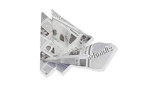 Cucurucho para churros/fritas / Cono de papel antigrasa diseño periódico tamaño grande 210X200X275; Paquete de 200 uds. MONDIS