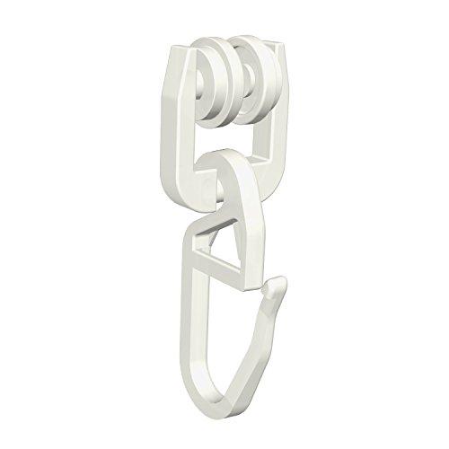 Flairdeco T-Laufrollen mit Faltenhaken für T-Schienen, Plastik, Weiß, 100 Stück