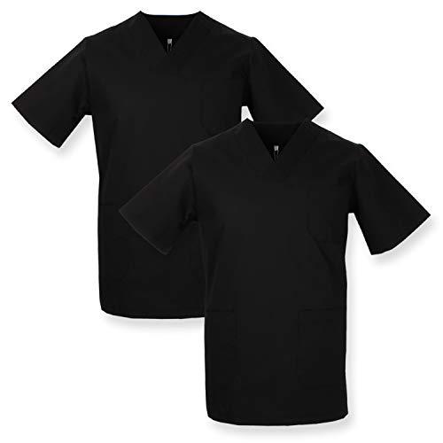 MISEMIYA - Pack*2 - Casaca Sanitarios Unisex Uniformes Sanitarios Cuello Pico Mangas Cortas Uniformes Laboratorios - Ref.817 * 2 - S, Negro