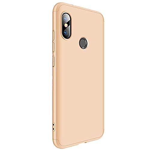 Croazhi Funda Compatible with Xiaomi Mi A2 Lite/Mi A2,Carcasa para Mi A2 Lite (Redmi 6 Pro)/ Mi A2 (Mi 6X) PC Cover Silicona 360 Transparente Protector (Dorado, Mi A2 (Mi 6X))