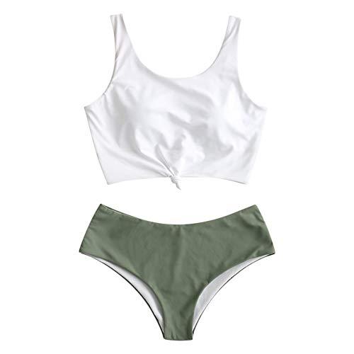 ZAFUL Zweiteiliger verknotet Tankini Beachwear Set, einfarbiger gepolsterter Badeanzug mit Schulterträger & Badehose für Damen (Grün, XL)