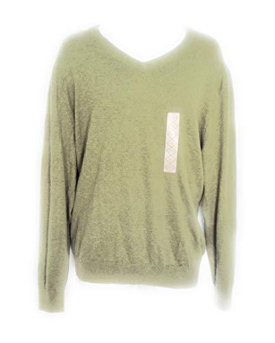St John's Bay Mens Burnt Olive Heather V-Neck Sweater