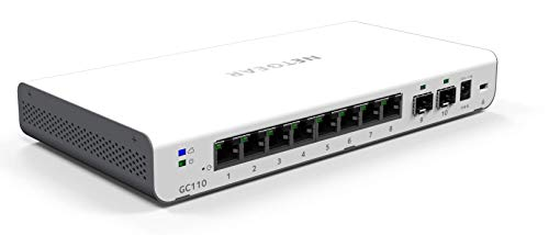 Netgear GC110 10-Port Gigabit Ethernet LAN Switch (Insight Managed Smart Cloud, mit 2x 1G SFP, Desktop oder Wandmontage, inkl. 1 Jahreslizenz Insight Premium)