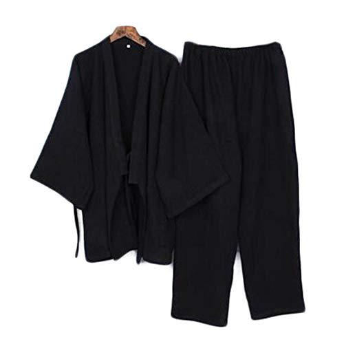Traje de Estilo japonés, de Dos Piezas, Hombres, de algodón Fino, Albornoces, Pijamas, Albornoces de Kimono, Ropa de dormir-F16