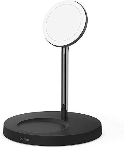 Belkin - Cargador Inalámbrico 2 en 1 con MagSafe, Carga Rápida de 15 W, Soporte de Carga para la Serie iPhone 12, AirPods y Otros Dispositivos con MagSafe, Adaptador de Corriente Incluido, Negro