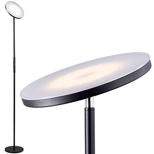 addlon - LED Torchiere Floor Lamp, Tall Standing Modern Lamp Pole Light for Living Room & Office,with Stepless Dimming, Memory Function - Classic Black