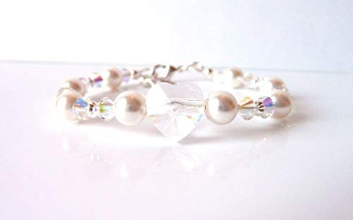 Girls Swarovski Pearl and Crystal Heart Bracelet with grow chain extension, Choose White or Ivory Pearl