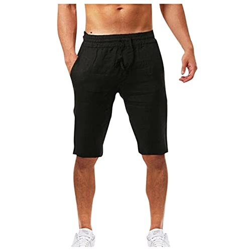 UOKNICE MEN-TOPS Mens Linen Casual Drawstring Beach Shorts with Elastic Waist,Summer Casual Fashionable Solid Color Relaxed fit Workout Athletic Gym Lightweight Quick-Drying Shorts Black