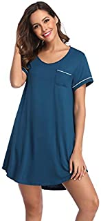 Image of Blue Short Sleeve Nightshirt for Women - See More Styles