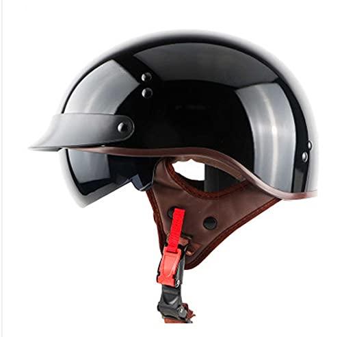 GAOZ Casco de motocicleta vintage de cara abierta aprobado por DOT con protección solar, hebilla de liberación rápida para ciclomotor scooter para hombres y mujeres