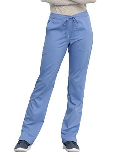 Workwear Revolution Women Scrubs Pant Mid Rise Straight Leg Drawstring WW005, M, Ciel Blue