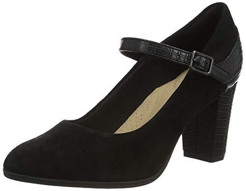 Clarks Alayna Shine, Zapatos de Vestir par Uniforme Mujer, Combi Negro, 37.5 EU