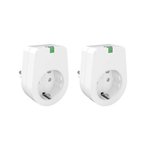 Lunvon Intelligente WiFi Steckdosen Plug Smart WLAN Steckdose Funktioniert mit Android iOS Google Home, auf NUR 2.4 GHz Netzwerk, Stecker Fernbedienbar, Stimmenkontrolle, 2000W, 2 Pack, Weiß