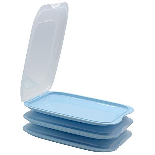 ENGELLAND - Hochwertige stapelbare Aufschnitt-Boxen, Frischhaltedose für Aufschnitt. Wurst Behälter. Perfekte Ordnung im Kühlschrank, 3 Stück Farbe Hellblau, Maße 25 x 17 x 3.3 cm