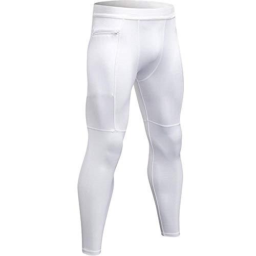 quming Fitness Gran EláSticos Mallas,Pantalones Deportivos de compresión para Hombre, Leggings Ajustados elásticos-White_L