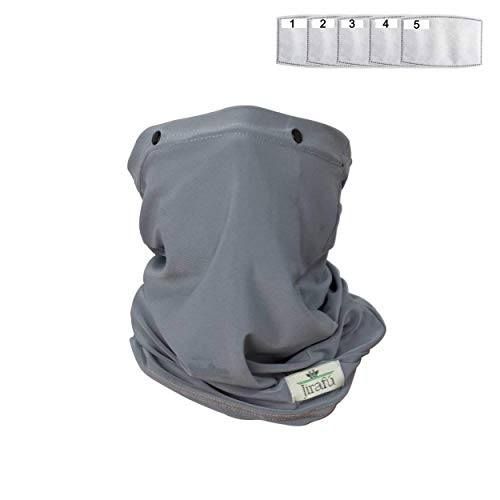 Face Mask Reusable Cloth Washable Neck Gaiter Disposable Activated Carbon Filter Pocket Men Women Shield Breathable Cotton Fabric Covering Respirator Nose Mouth Cover Cooling Summer Heat Dust (GRAY)