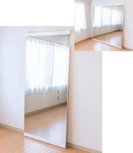 【並べられる】天然木大型立て掛けミラー カラー=ホワイト 800x1750 ホワイト